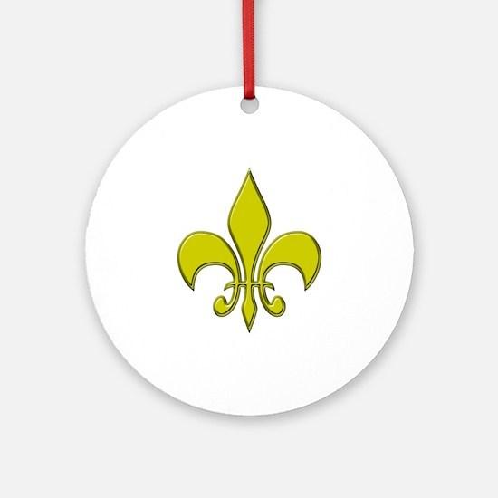 """Gold Fleur"" Ornament (Round)"