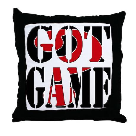 Got Game Black Red Throw Pillow
