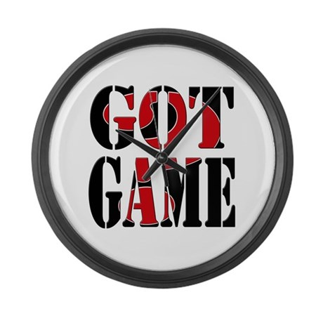 Got Game Black Red Large Wall Clock