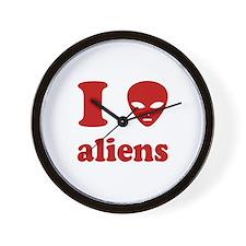 I Love Aliens Wall Clock