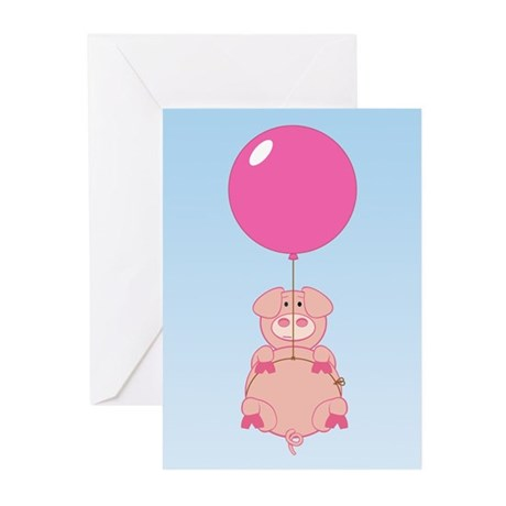 Cute Flying Pig Greeting Cards (Pk of 10)