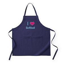 I Love Softball Apron (dark)