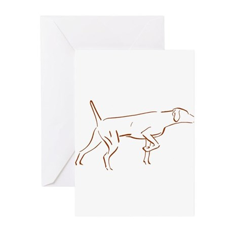 Vizsla Pointing Silouette Greeting Cards (Pk of 10
