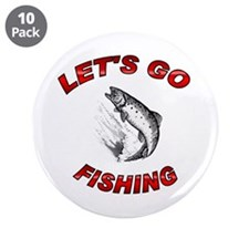 """Lets Go fishing 3.5"""" Button (10 pack)"""