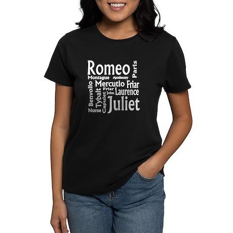 Romeo & Juliet Characters Women's Dark T-Shirt