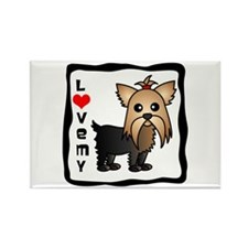 Love My Yorkshire Terrier Rectangle Magnet (100 pa