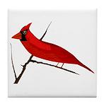Cardinal facing left Tile Coaster