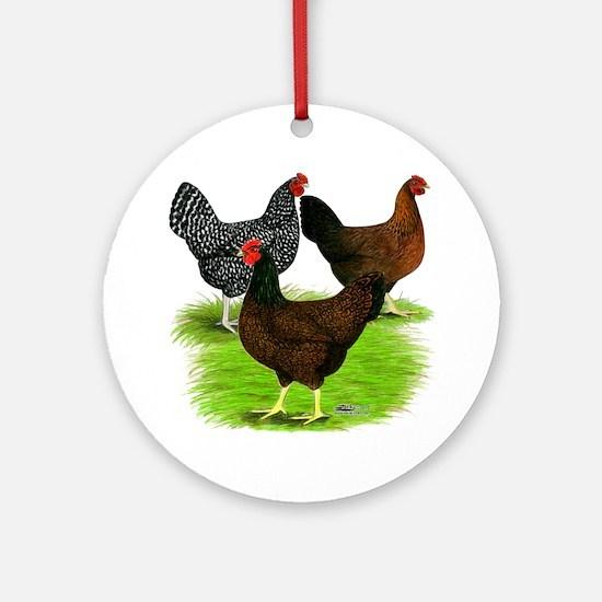 Dark Brown Egg Hens Ornament (Round)