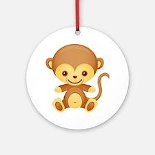 Cute Kawaii Cheeky monkey Ornament (Round)