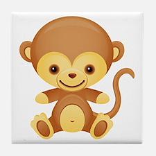 Cute Kawaii Cheeky monkey Tile Coaster