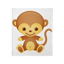Cute Kawaii Cheeky monkey Throw Blanket
