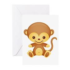 Cute Kawaii Cheeky monkey Greeting Cards (Pk of 10