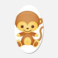 Cute Kawaii Cheeky monkey 38.5 x 24.5 Oval Wall Pe
