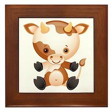 Cute kawaii cartoon cow ox Framed Tile