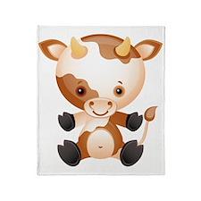 Cute kawaii cartoon cow ox Throw Blanket