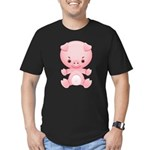 Cute Kawaii Pink pig Men's Fitted T-Shirt (dark)