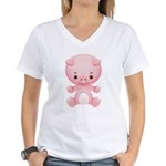 Cute Kawaii Pink pig Women's V-Neck T-Shirt