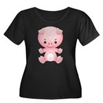 Cute Kawaii Pink pig Women's Plus Size Scoop Neck