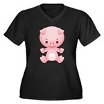 Cute Kawaii Pink pig Women's Plus Size V-Neck Dark