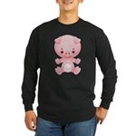 Cute Kawaii Pink pig Long Sleeve Dark T-Shirt