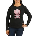 Cute Kawaii Pink pig Women's Long Sleeve Dark T-Sh