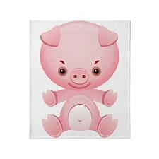 Cute Kawaii Pink pig Throw Blanket