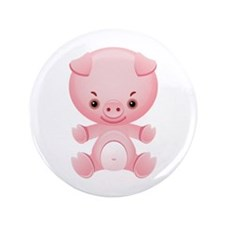 """Cute Kawaii Pink pig 3.5"""" Button"""