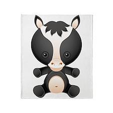 Cute kawaii cartoon horse Throw Blanket