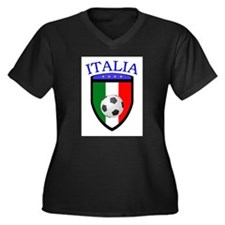 Italian Soccer Women's Plus Size V-Neck Dark T-Shi