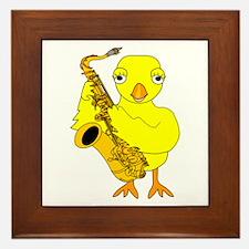 Saxophone Chick Framed Tile