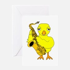 Saxophone Chick Greeting Card