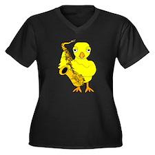 Saxophone Chick Women's Plus Size V-Neck Dark T-Sh