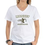 Monkey Steals The Peach Women's V-Neck T-Shirt