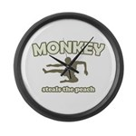 Monkey Steals The Peach Large Wall Clock