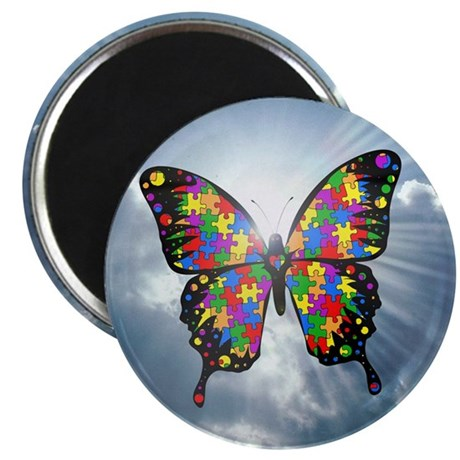 """Autism Butterfly Sky Magnet - 2.25"""" (10 pack)"""