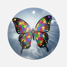Autism Butterfly Sky Ornament - Round