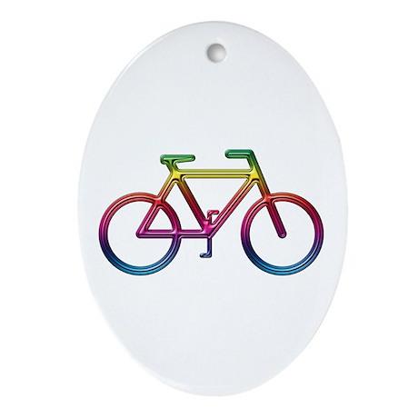 """Rainbow Bike"" Oval Ornament"