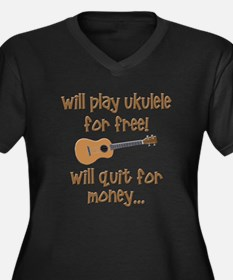 funny ukulele Women's Plus Size V-Neck Dark T-Shir