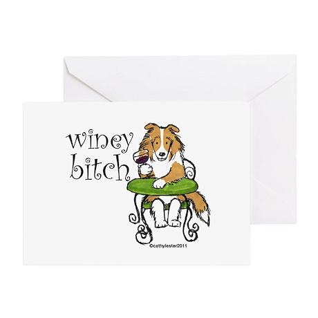 Winey Bitch Sheltie Greeting Card