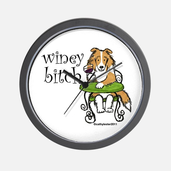 Winey Bitch Sheltie Wall Clock