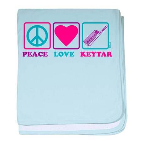 Peace Love Keytar baby blanket