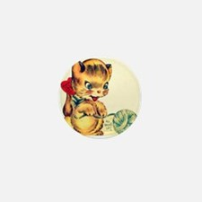 Vintage Valentines Day Kitten Mini Button