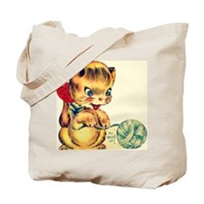 Vintage Valentines Day Kitten Tote Bag