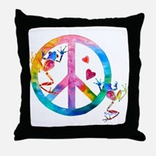Tree Frogs 4 Peace Symbols Throw Pillow