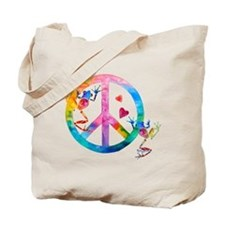 Tree Frogs 4 Peace Symbols Tote Bag