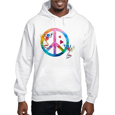 Tree Frogs 4 Peace Symbols Hooded Sweatshirt