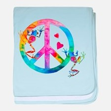 Tree Frogs 4 Peace Symbols baby blanket