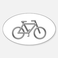 """Silver Bike"" Oval Decal"