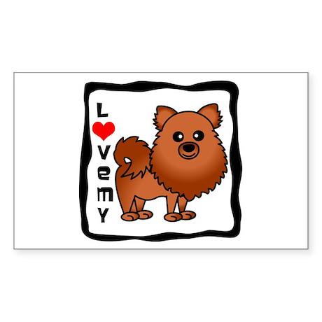 Love My Pomeranian Red Sticker (Rectangle)