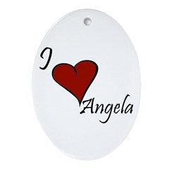 I love Angela Ornament (Oval)